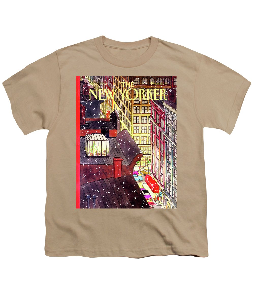 A Birds-eye View Of A Busy Shopping Evening Downtown. Snow Begins To Fall On The Rooftops Where One Sunroof Is Illuminated By A Crowd Gathered Around A Christmas Tree. Youth T-Shirt featuring the painting New Yorker December 7th, 1992 by Roxie Munro