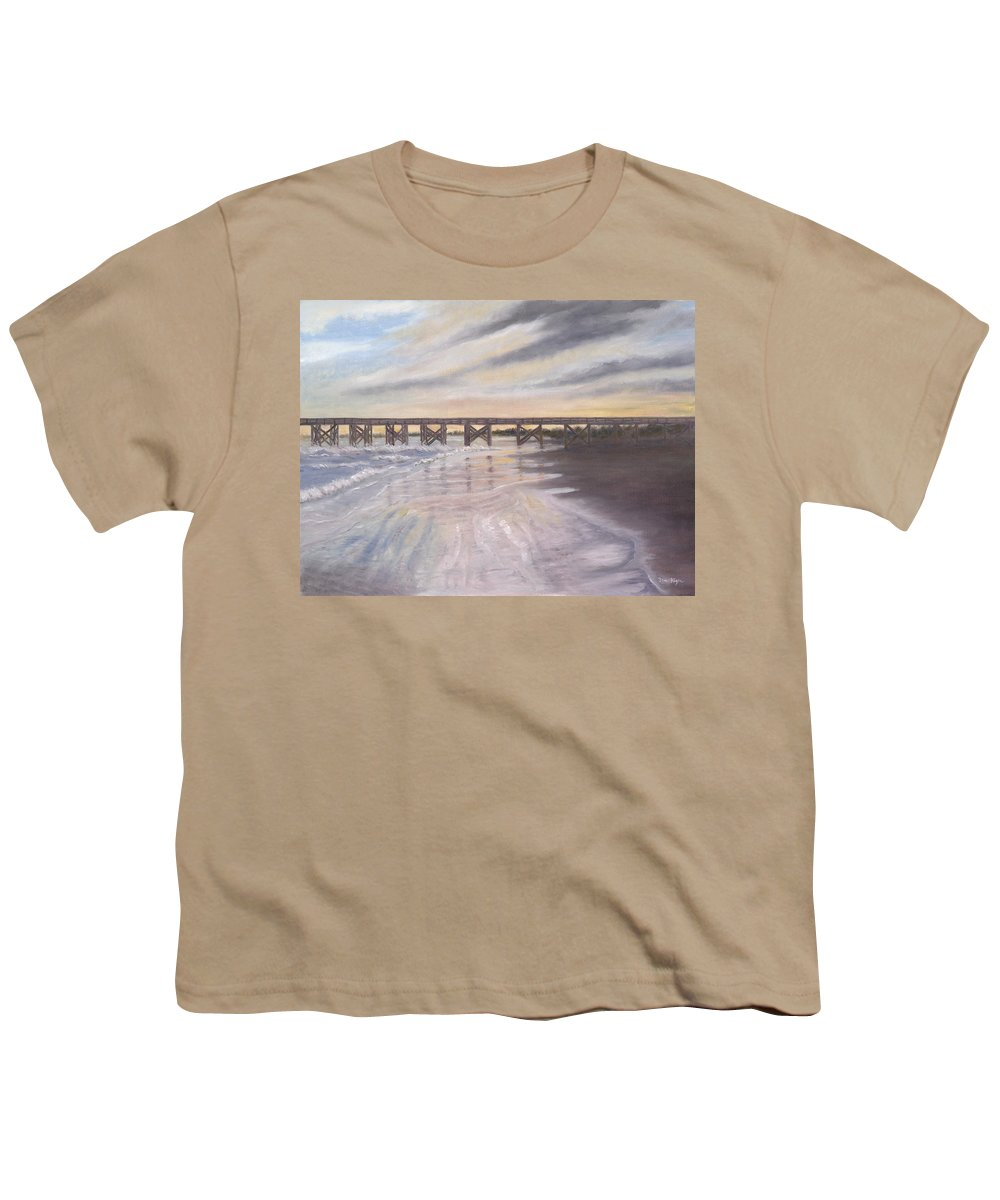 Beach; Pier; Low Country Youth T-Shirt featuring the painting Reflections by Ben Kiger
