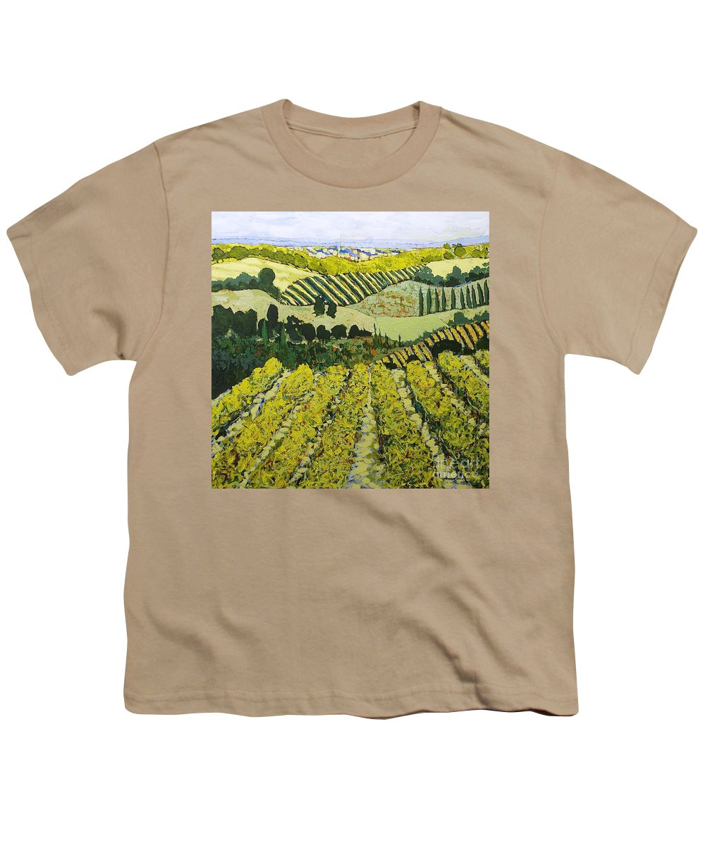 Landscape Youth T-Shirt featuring the painting Sharing The Discovery by Allan P Friedlander