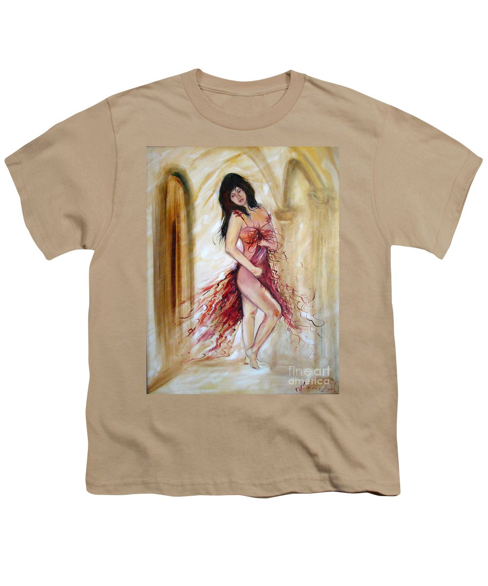 Contemporary Art Youth T-Shirt featuring the painting She by Silvana Abel