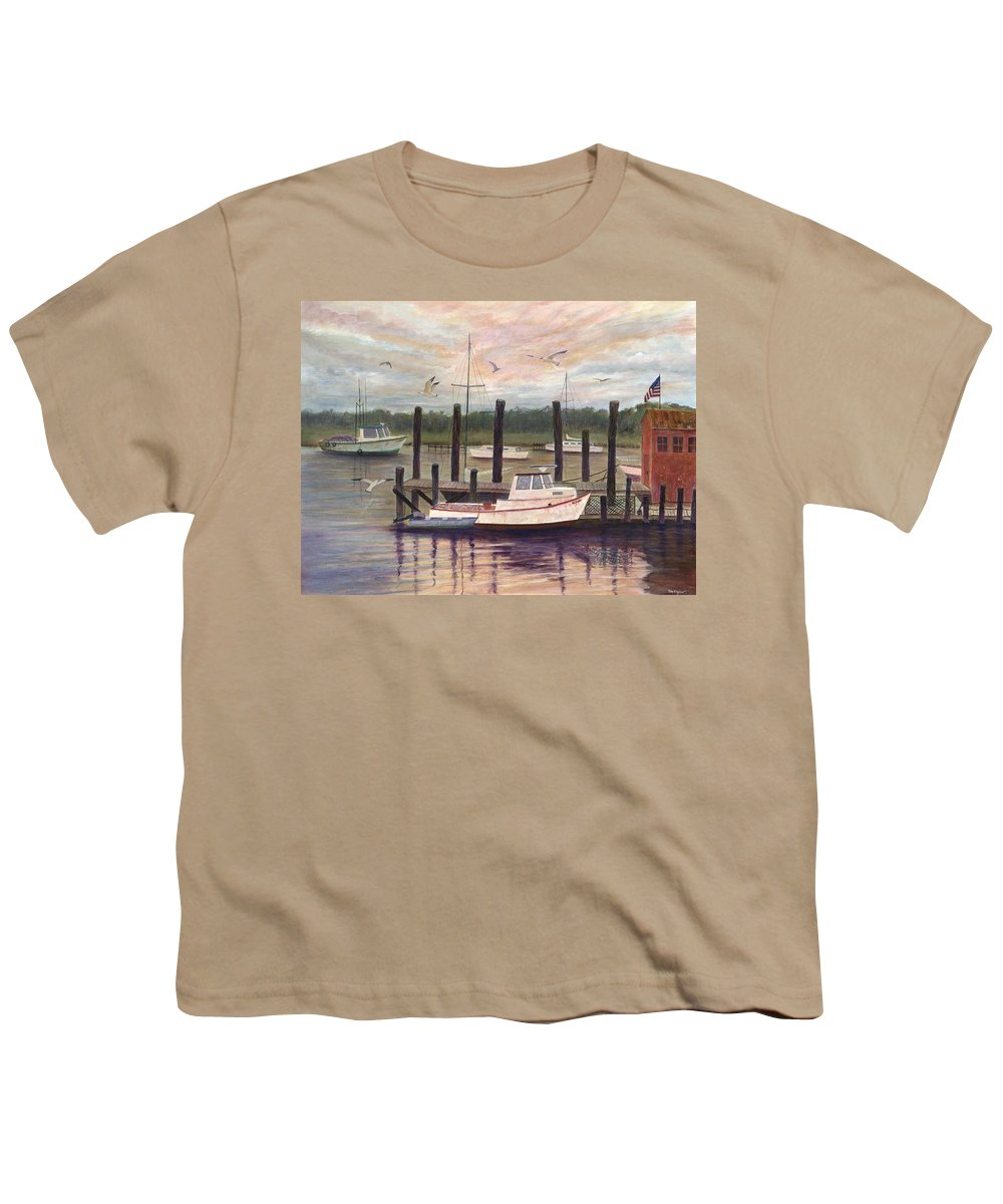 Charleston; Boats; Fishing Dock; Water Youth T-Shirt featuring the painting Shem Creek by Ben Kiger