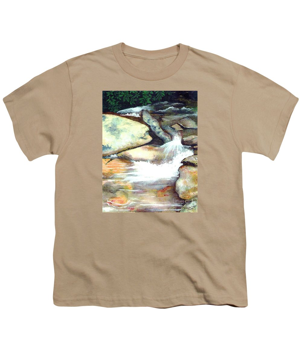Fine Art Youth T-Shirt featuring the painting Smoky Mountains Waterfall by Patricia Griffin Brett