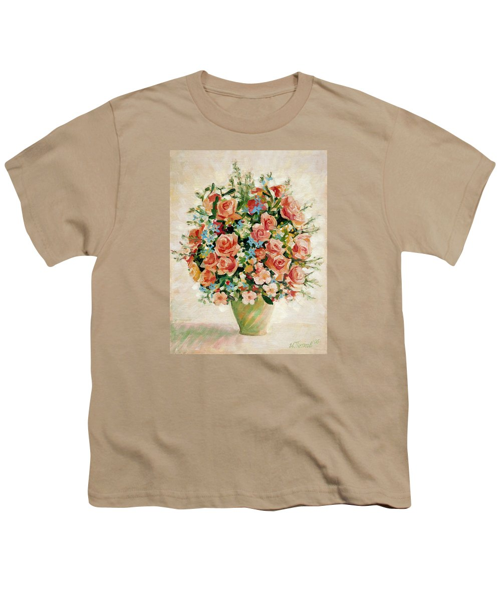 Flowers Youth T-Shirt featuring the painting Still Life With Roses by Iliyan Bozhanov