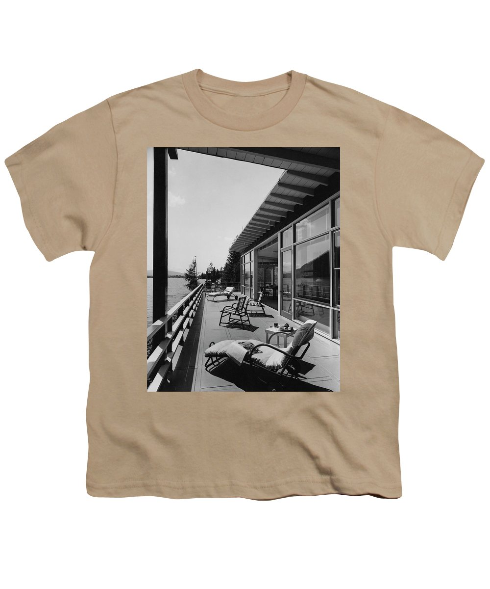 Architecture Youth T-Shirt featuring the photograph The Alfred Rose Lake Placid Summer Home by Robert M. Damora