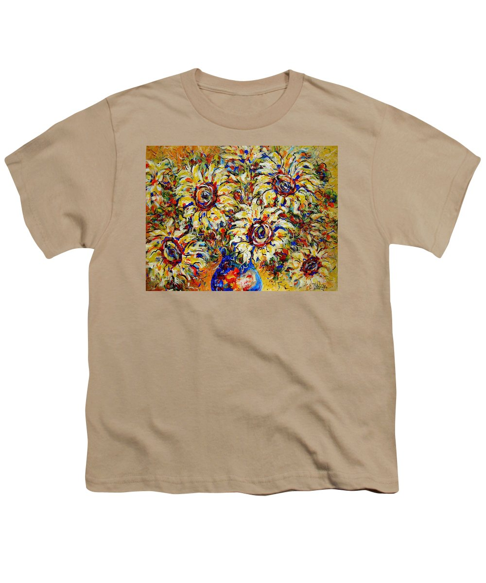 Flowers Youth T-Shirt featuring the painting Vibrant Sunflower Essence by Natalie Holland