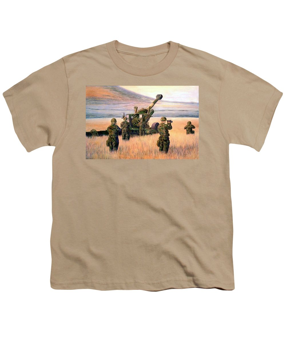 Signed And Numbered Prints Of The Montana National Guard Youth T-Shirt featuring the print 1-190th Artillery by Scott Robertson