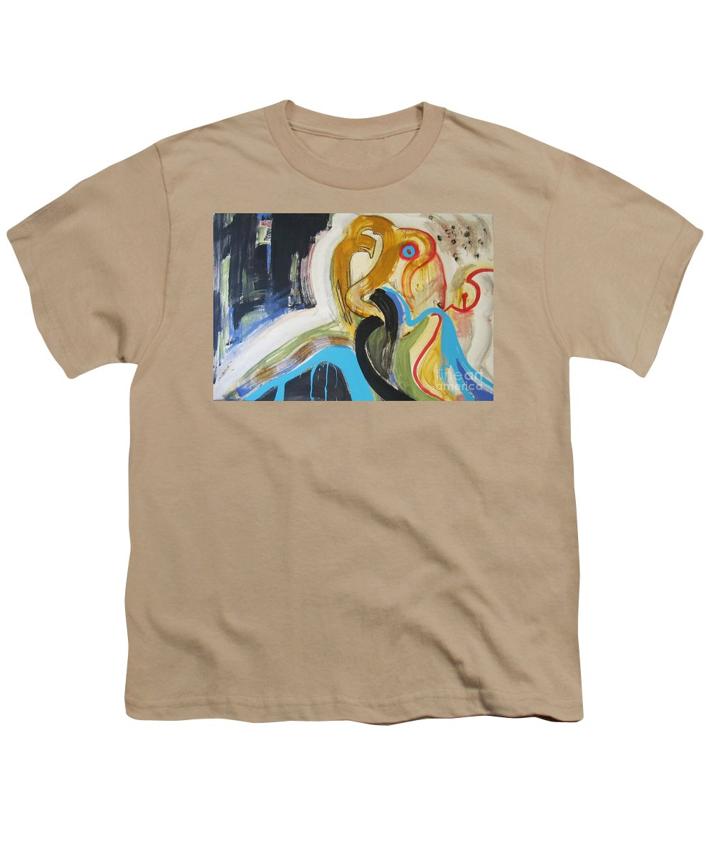Abstract Art Paintings Youth T-Shirt featuring the painting Hard To Escape by Seon-Jeong Kim
