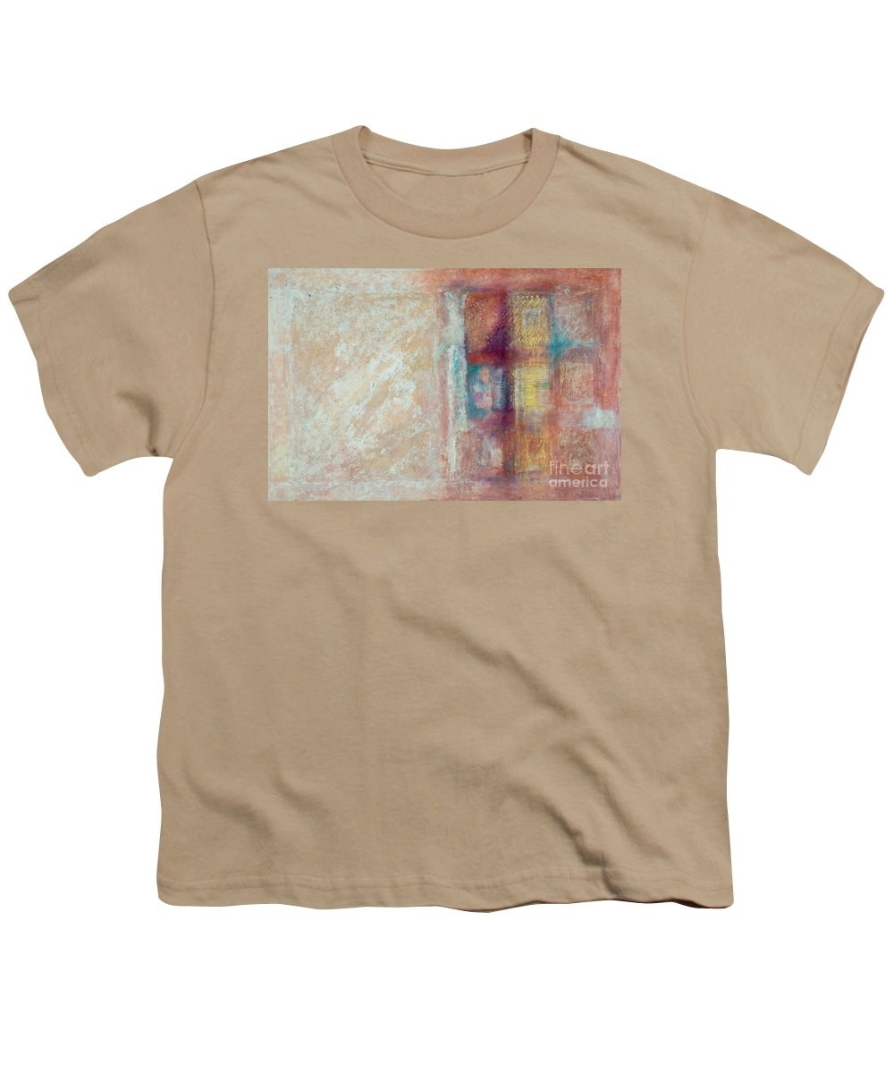 Mixed-media Youth T-Shirt featuring the painting Spirit Matter Cosmos by Kerryn Madsen-Pietsch