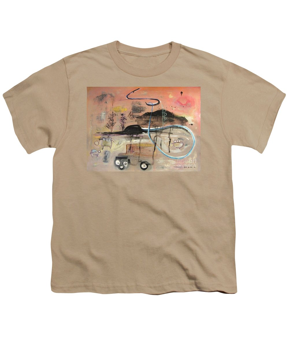 Acrylic Paper Canvas Abstract Contemporary Landscape Dusk Twilight Countryside Youth T-Shirt featuring the painting The Tempo Of A Day by Seon-Jeong Kim