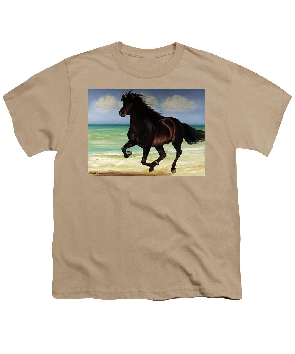 Horse Youth T-Shirt featuring the painting Horses In Paradise Run by Gina De Gorna