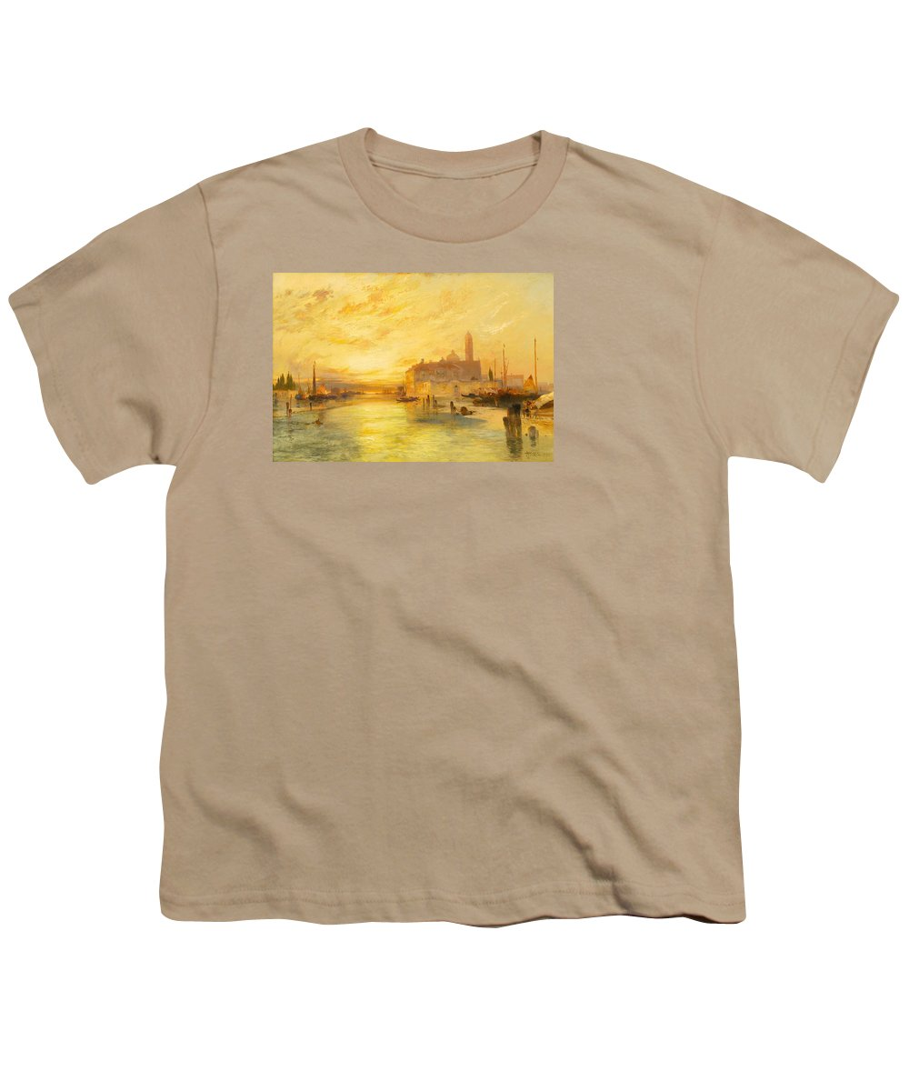 Moran Youth T-Shirt featuring the painting Venice by Thomas Moran
