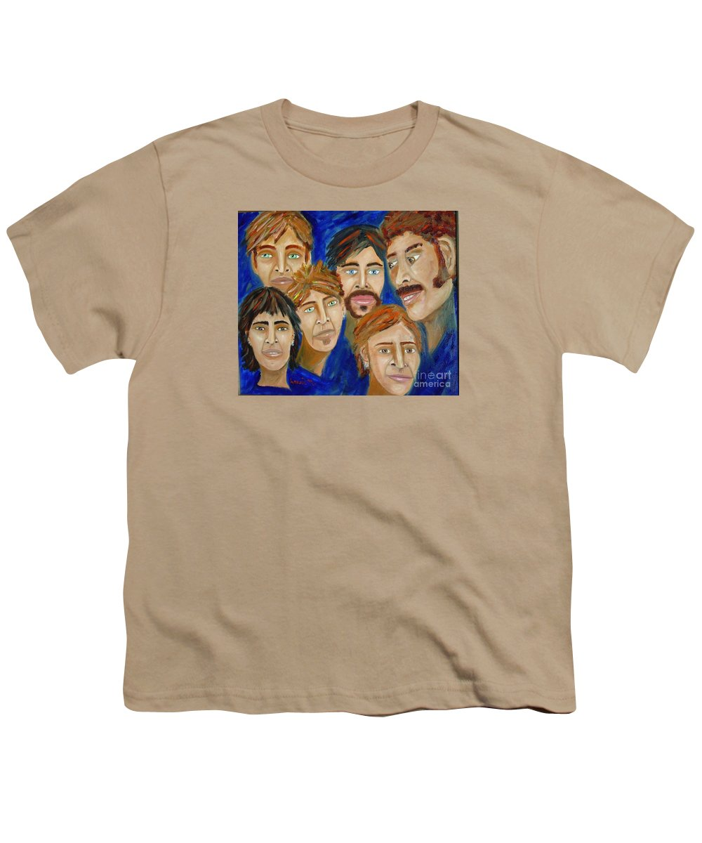 Portrait Youth T-Shirt featuring the painting 70s Band Reunion by Laurie Morgan