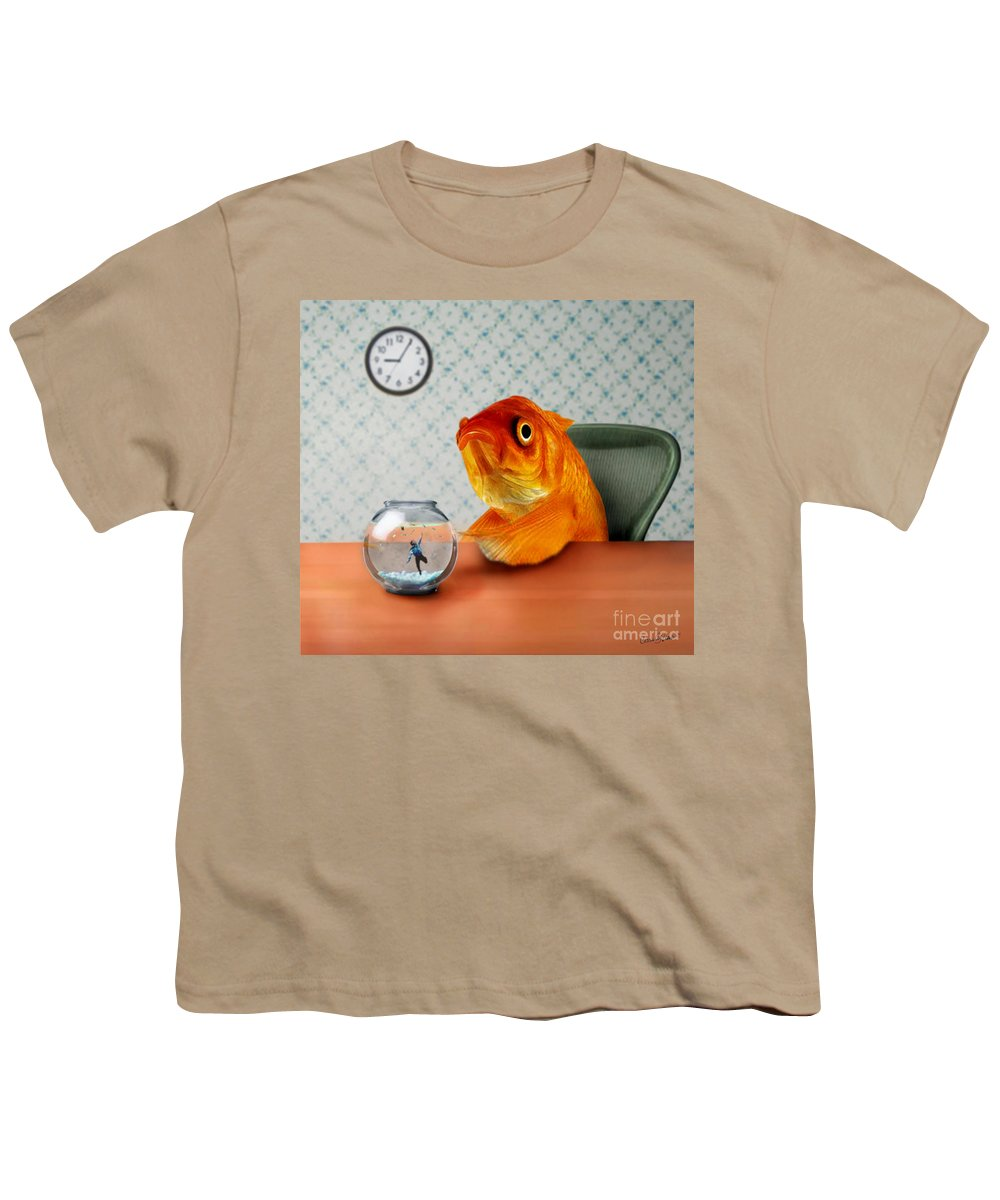 A Fish Out Of Water Youth T-Shirt featuring the mixed media A Fish Out Of Water by Carrie Jackson