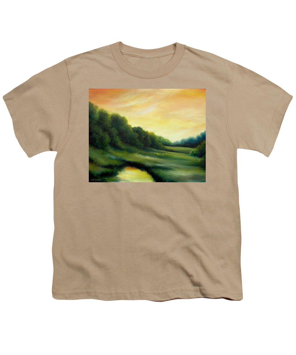 Clouds Youth T-Shirt featuring the painting A Spring Evening Part Two by James Christopher Hill