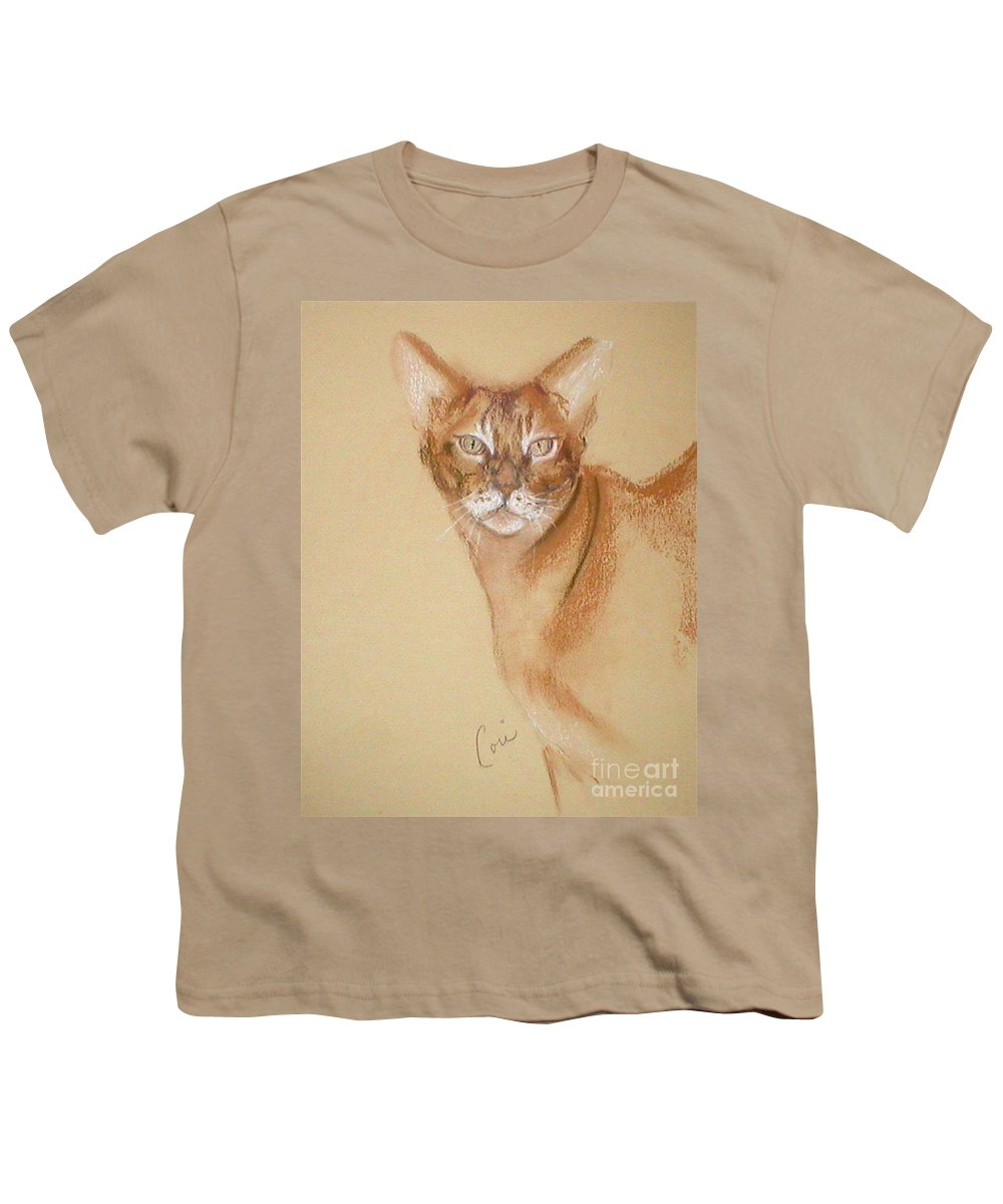 Pastel Youth T-Shirt featuring the drawing Abyssinian by Cori Solomon