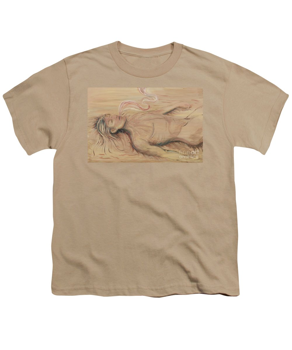 Adam Youth T-Shirt featuring the painting Adam And The Breath Of God by Nadine Rippelmeyer