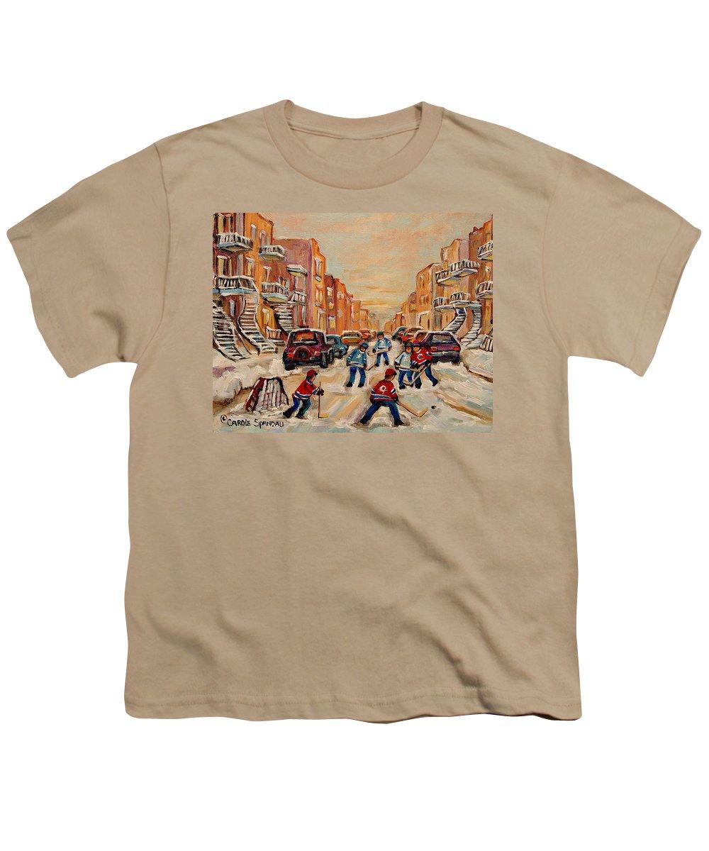 After School Hockey Game Youth T-Shirt featuring the painting After School Hockey Game by Carole Spandau