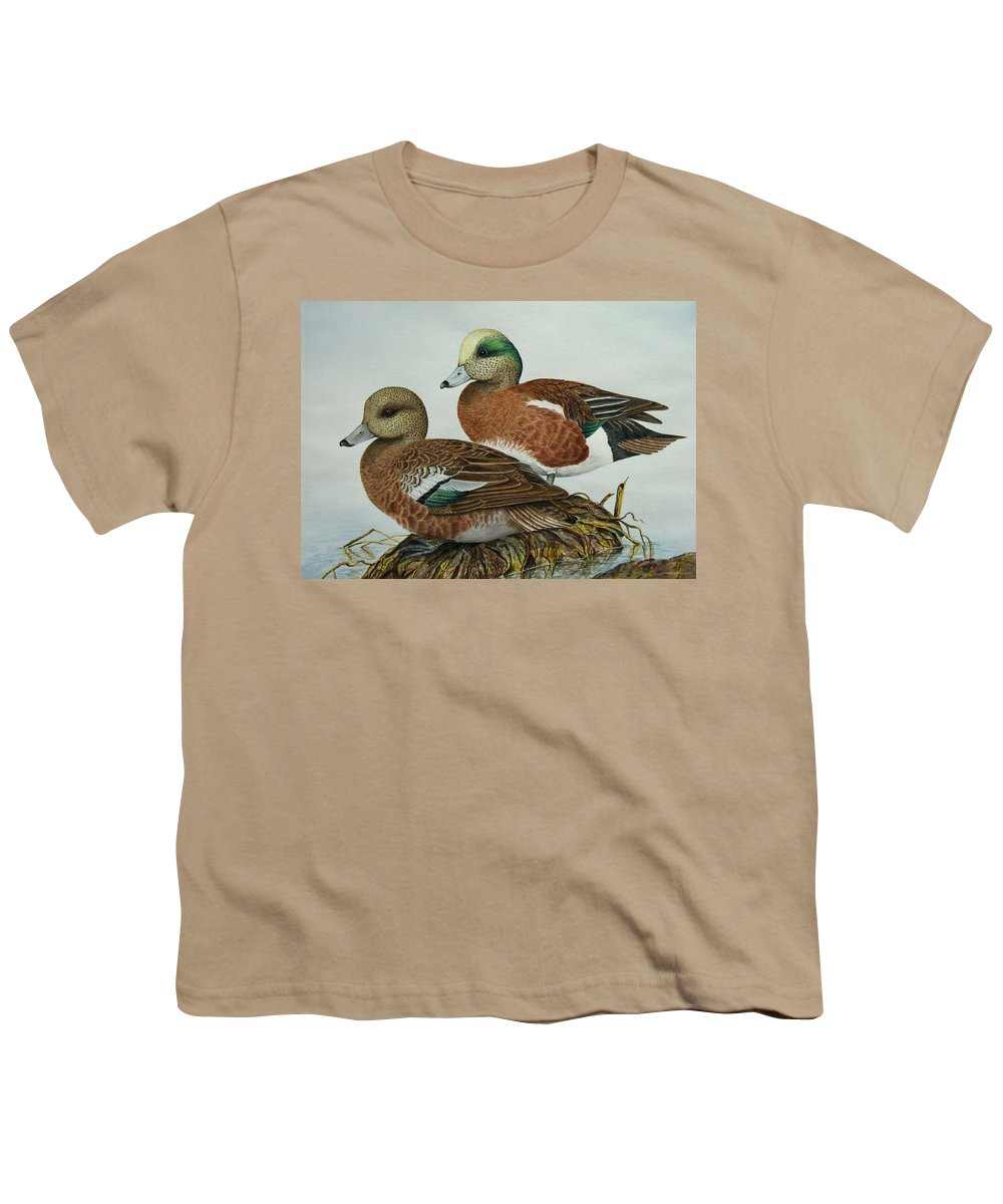 Ducks Youth T-Shirt featuring the painting American Widgeons by Elaine Booth-Kallweit