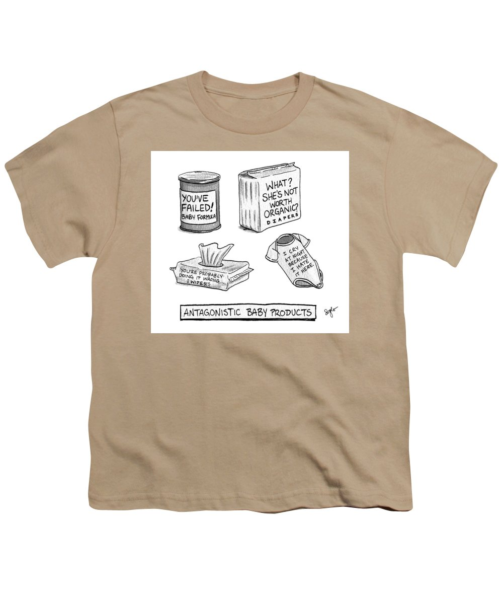 Antagonistic Baby Products Youth T-Shirt featuring the drawing Antagonistic Baby Products by Sophia Wiedeman