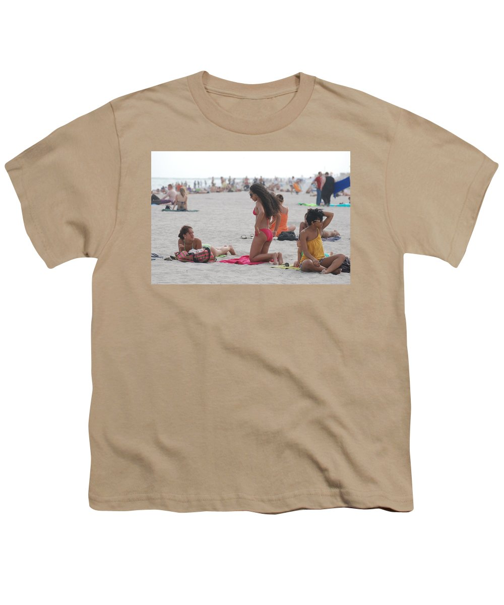Girls Youth T-Shirt featuring the photograph At The Beach by Rob Hans