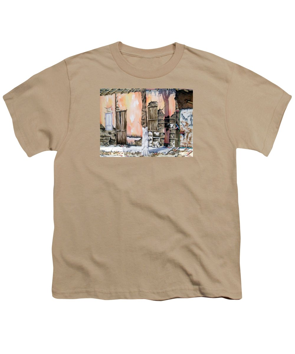 Lanscape Youth T-Shirt featuring the painting Bareque II by Tatiana Escobar