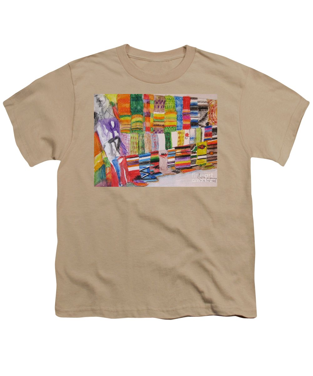 Bright Colors Youth T-Shirt featuring the painting Bazaar Sabado - Gifted by Judith Espinoza
