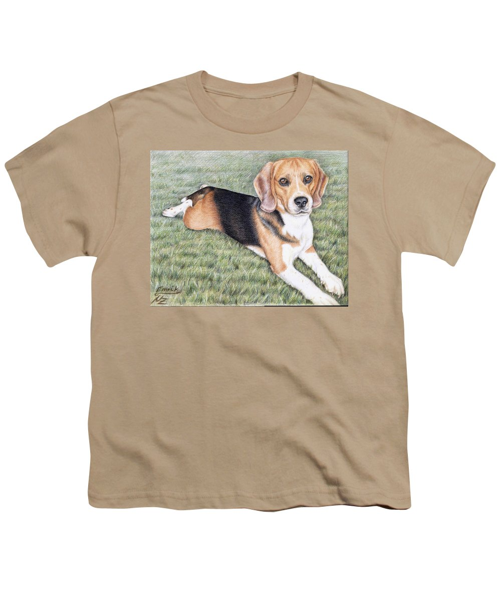 Dog Youth T-Shirt featuring the drawing Beagle by Nicole Zeug