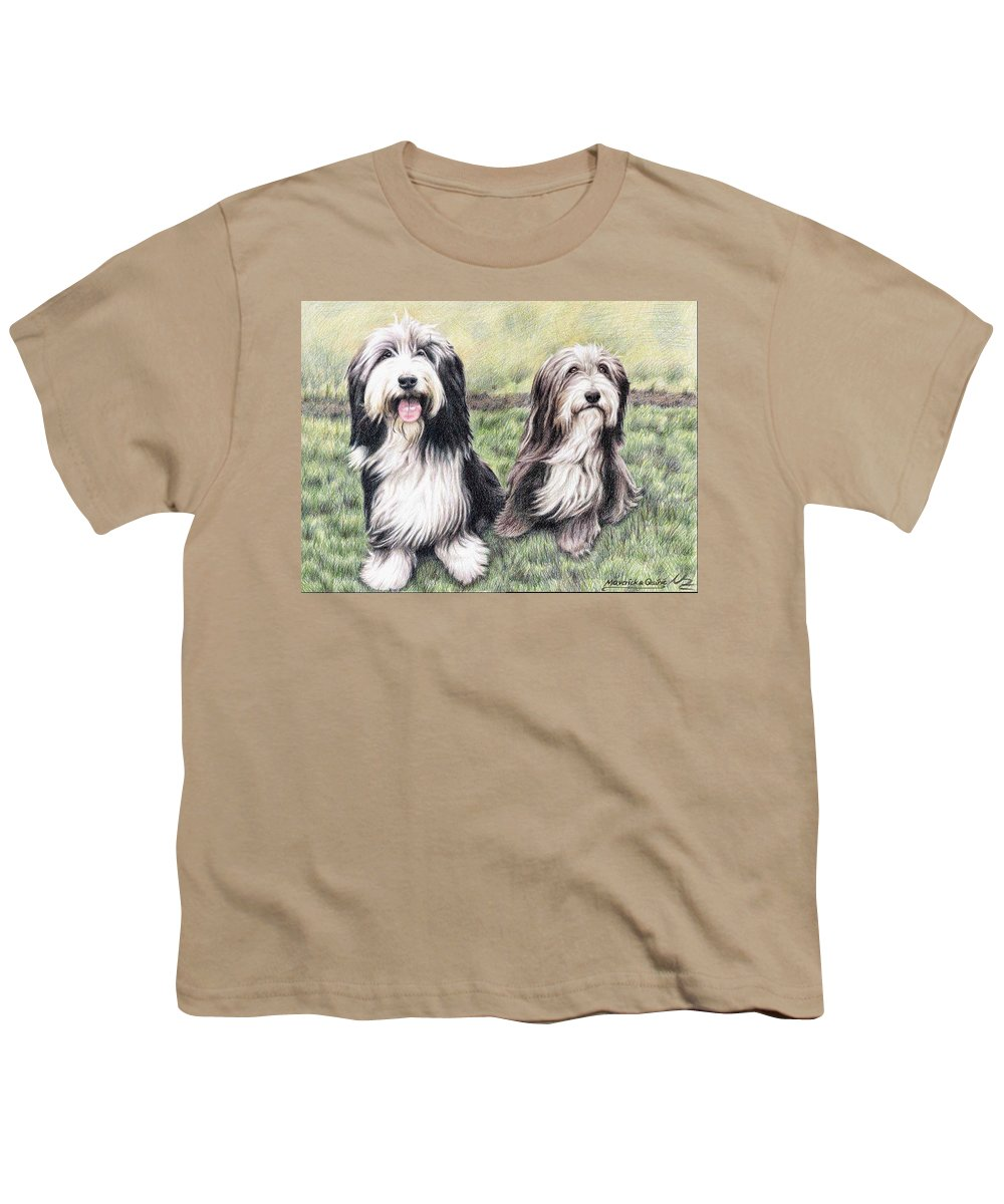 Dogs Youth T-Shirt featuring the drawing Bearded Collies by Nicole Zeug