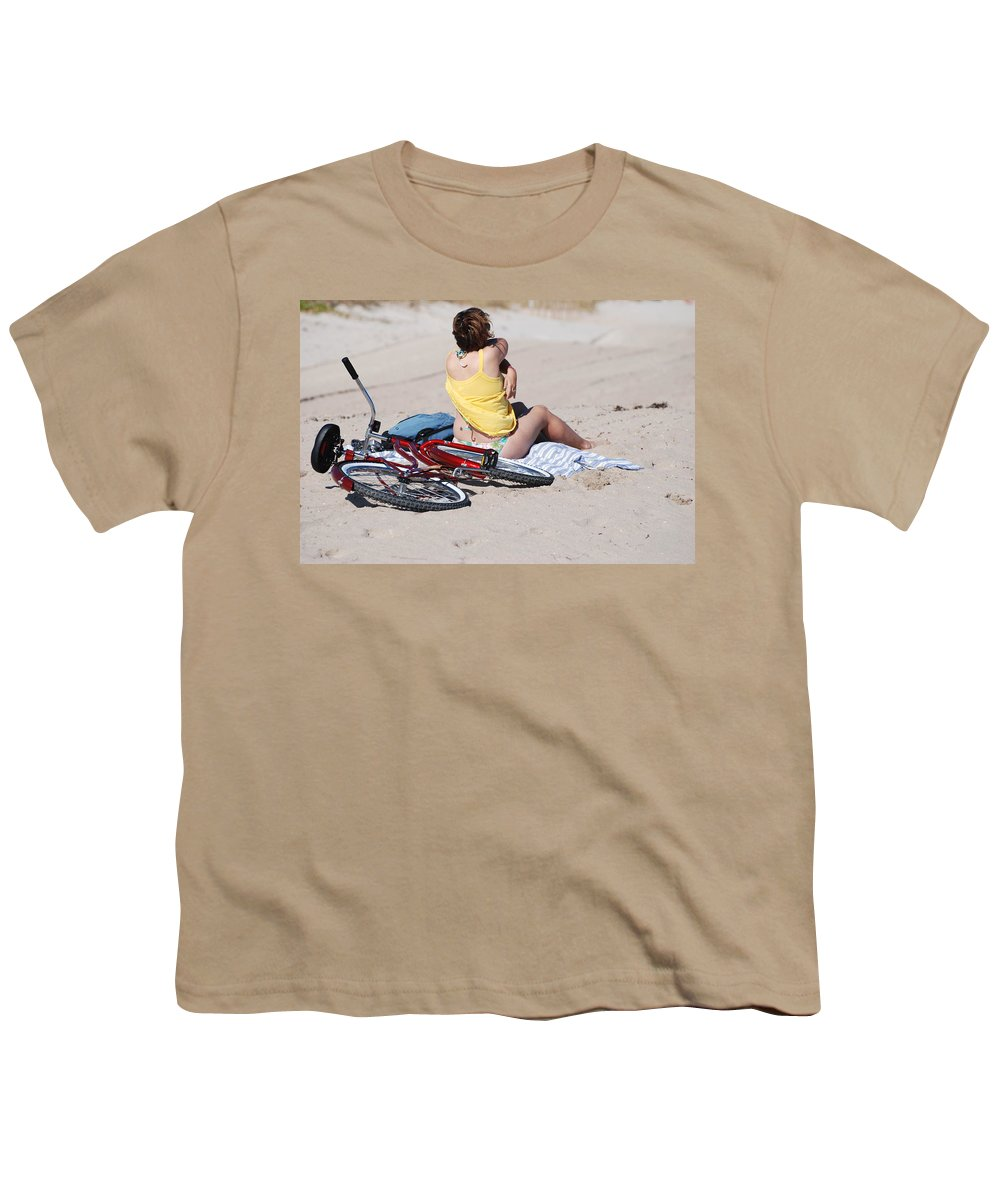 Red Youth T-Shirt featuring the photograph Bike On The Beach by Rob Hans