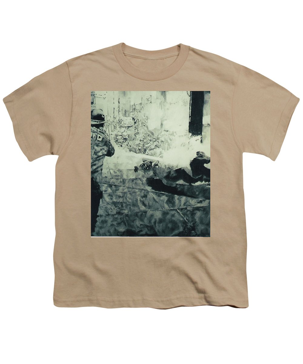 Civil Rights Movement Youth T-Shirt featuring the painting Birmingham Fire Department Sprays Protestor With High Pressure Water Hoses 1963 by Lauren Luna