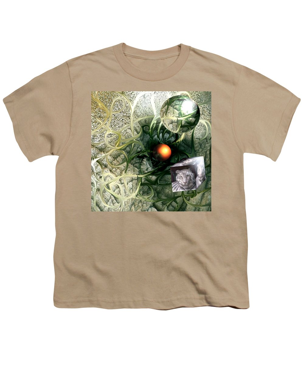 Abstract Nature Red Birth Tiger Spheres Wire Youth T-Shirt featuring the digital art Birth by Veronica Jackson