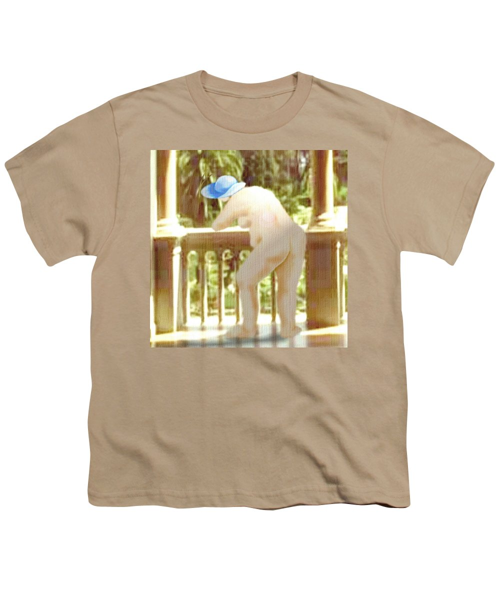 Woman Blue Hat Morning Nature Balcony Youth T-Shirt featuring the digital art Blue Hat by Veronica Jackson