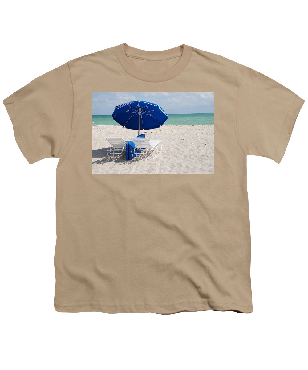 Sea Scape Youth T-Shirt featuring the photograph Blue Paradise Umbrella by Rob Hans