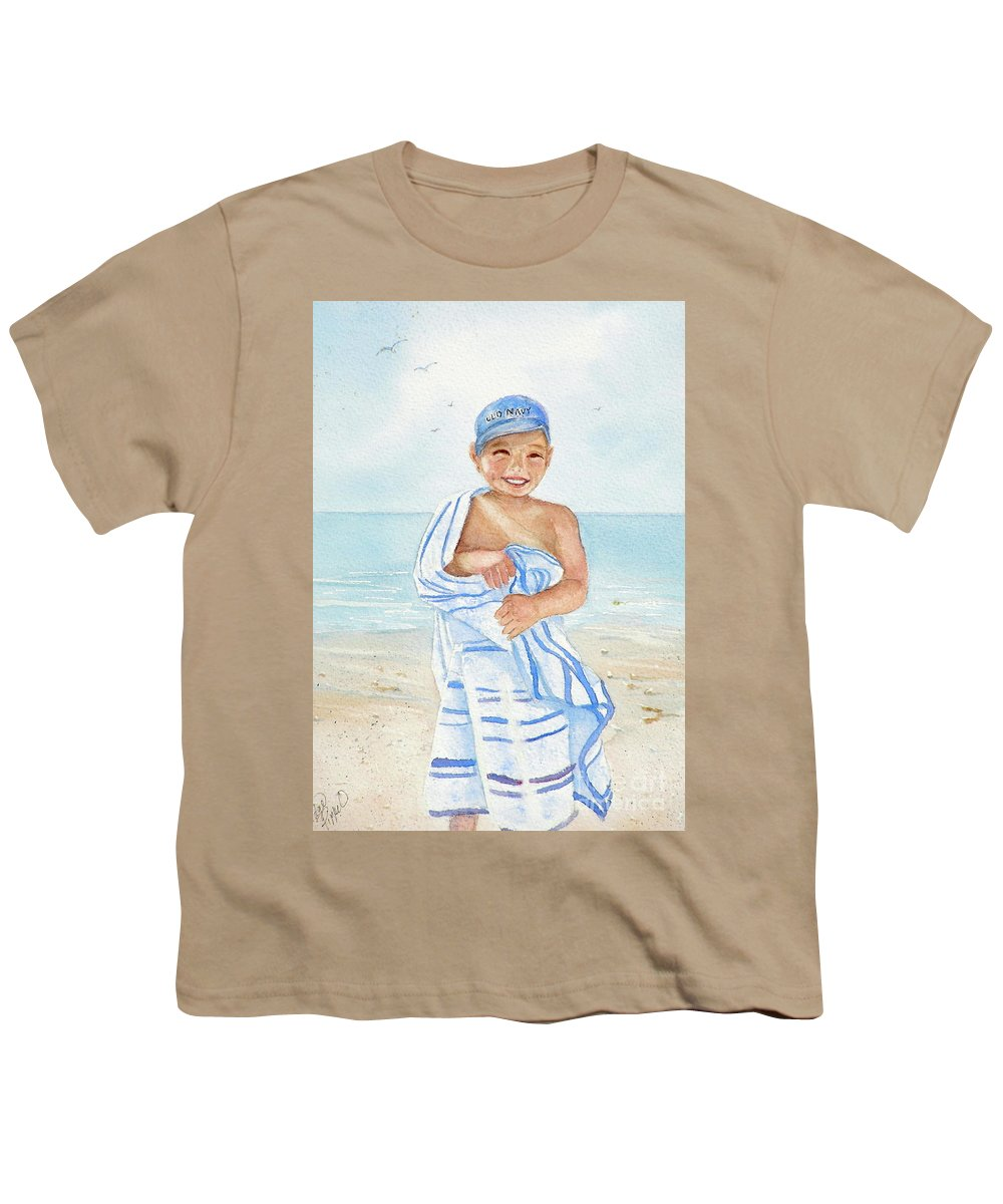 Boy Youth T-Shirt featuring the painting Boy At The Beach by Midge Pippel