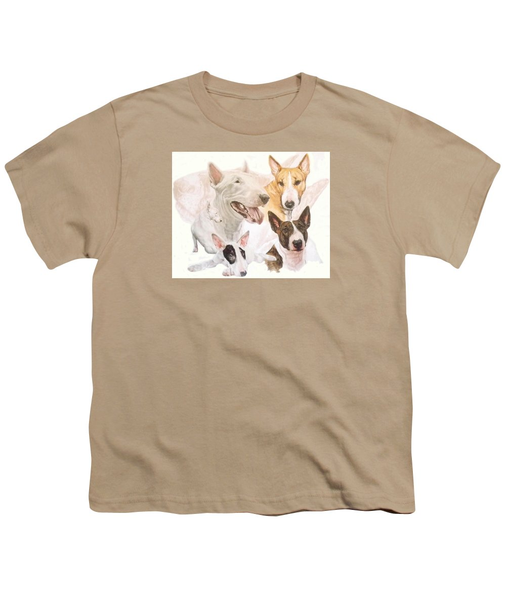 Purebred Youth T-Shirt featuring the mixed media Bull Terrier W/ghost by Barbara Keith