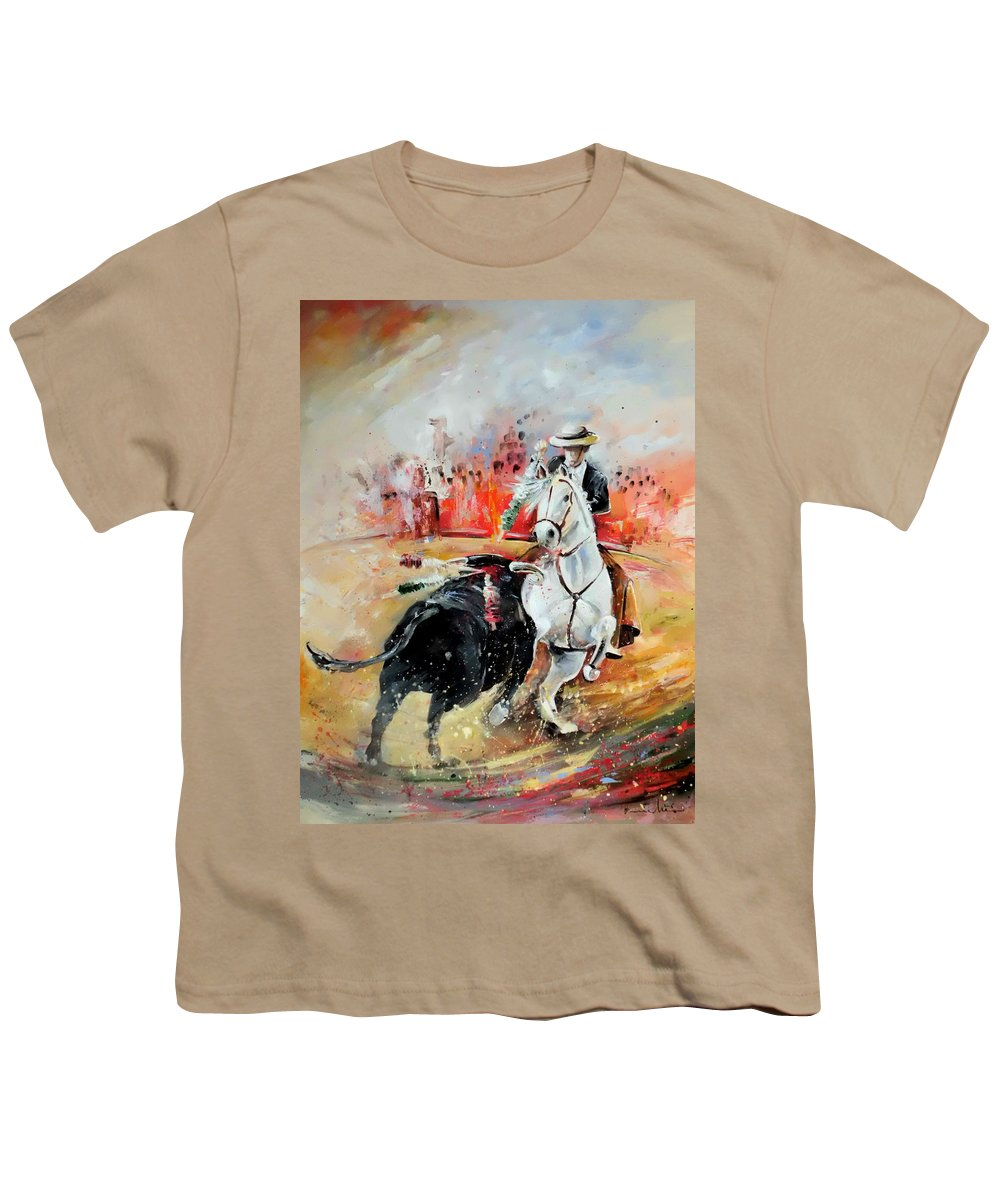 Toros Youth T-Shirt featuring the painting Bullfight 3 by Miki De Goodaboom