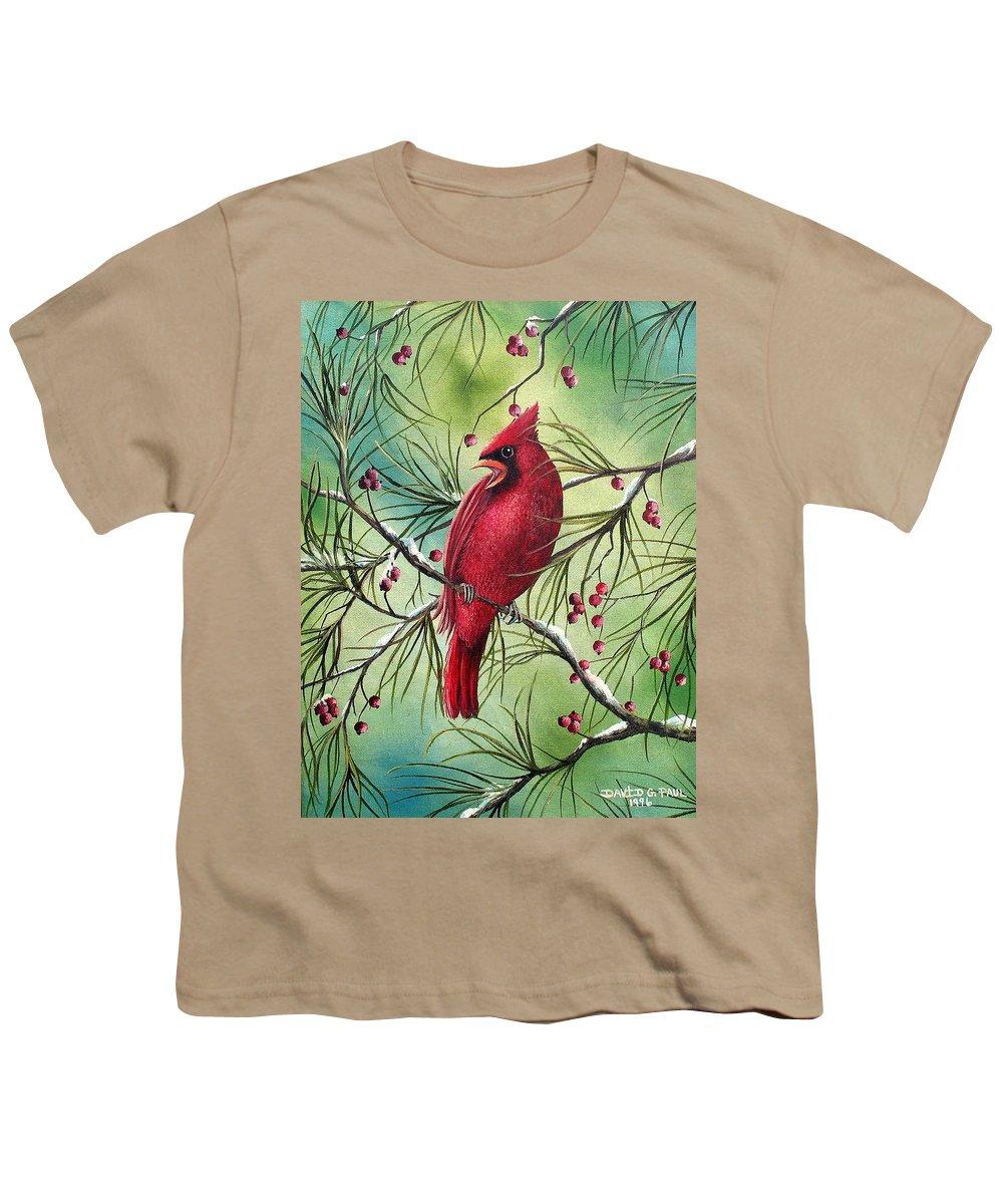 Cardinal Youth T-Shirt featuring the painting Cardinal by David G Paul