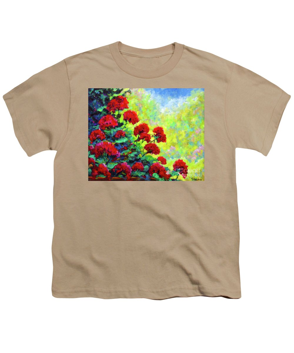 Art Original Youth T-Shirt featuring the painting Cascade Of Geraniums by Richard T Pranke