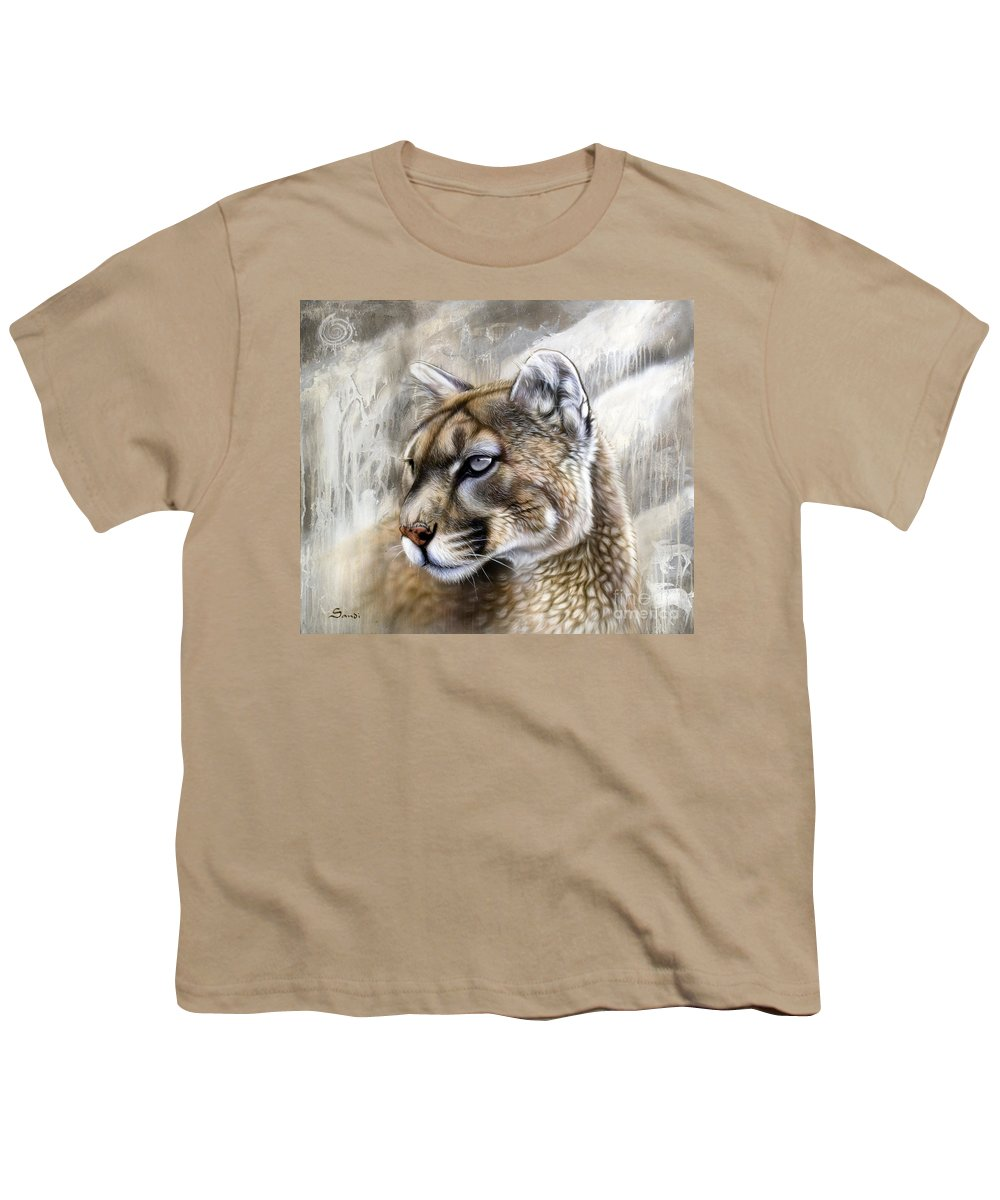 Acrylic Youth T-Shirt featuring the painting Catamount by Sandi Baker