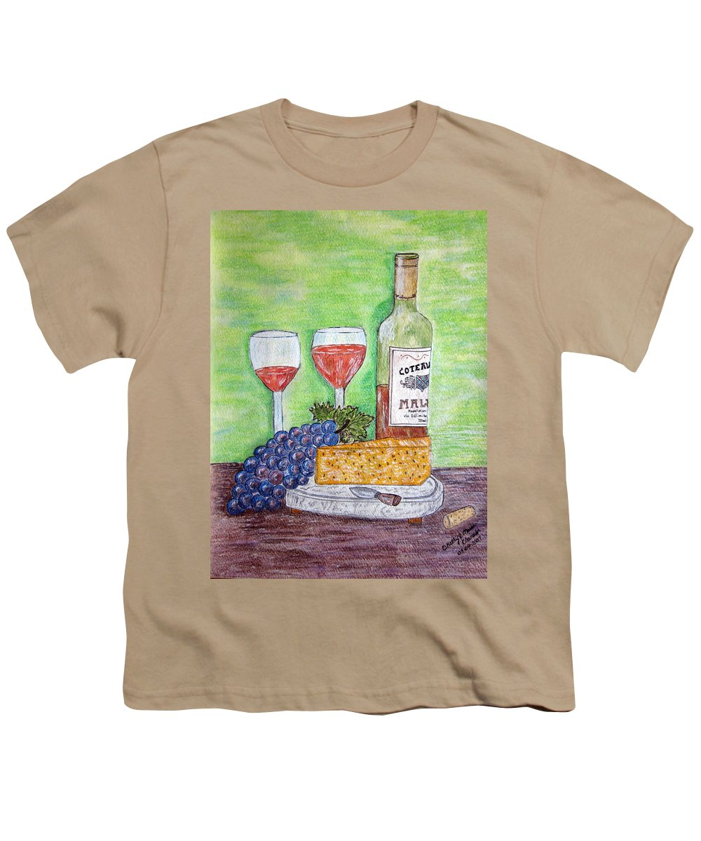 Cheese Youth T-Shirt featuring the painting Cheese Wine And Grapes by Kathy Marrs Chandler