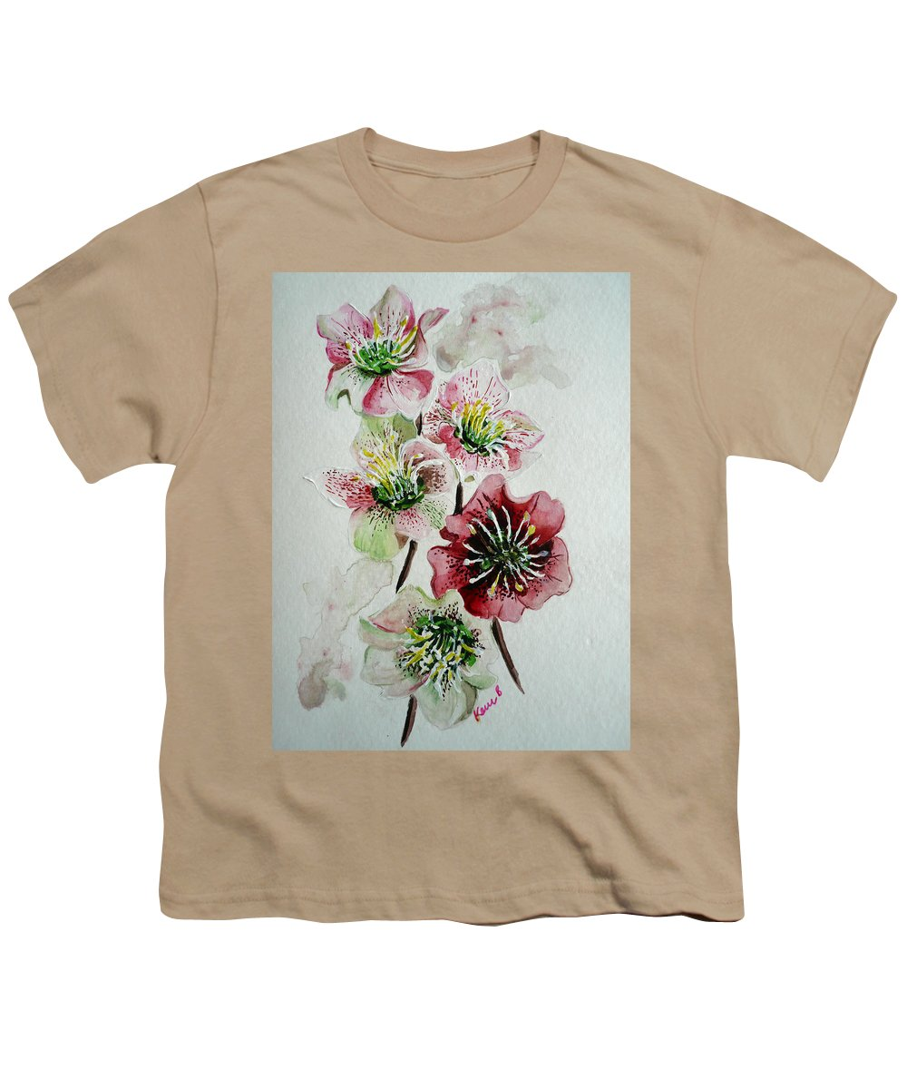 Floral Flower Pink Youth T-Shirt featuring the painting Christmas Rose by Karin Dawn Kelshall- Best