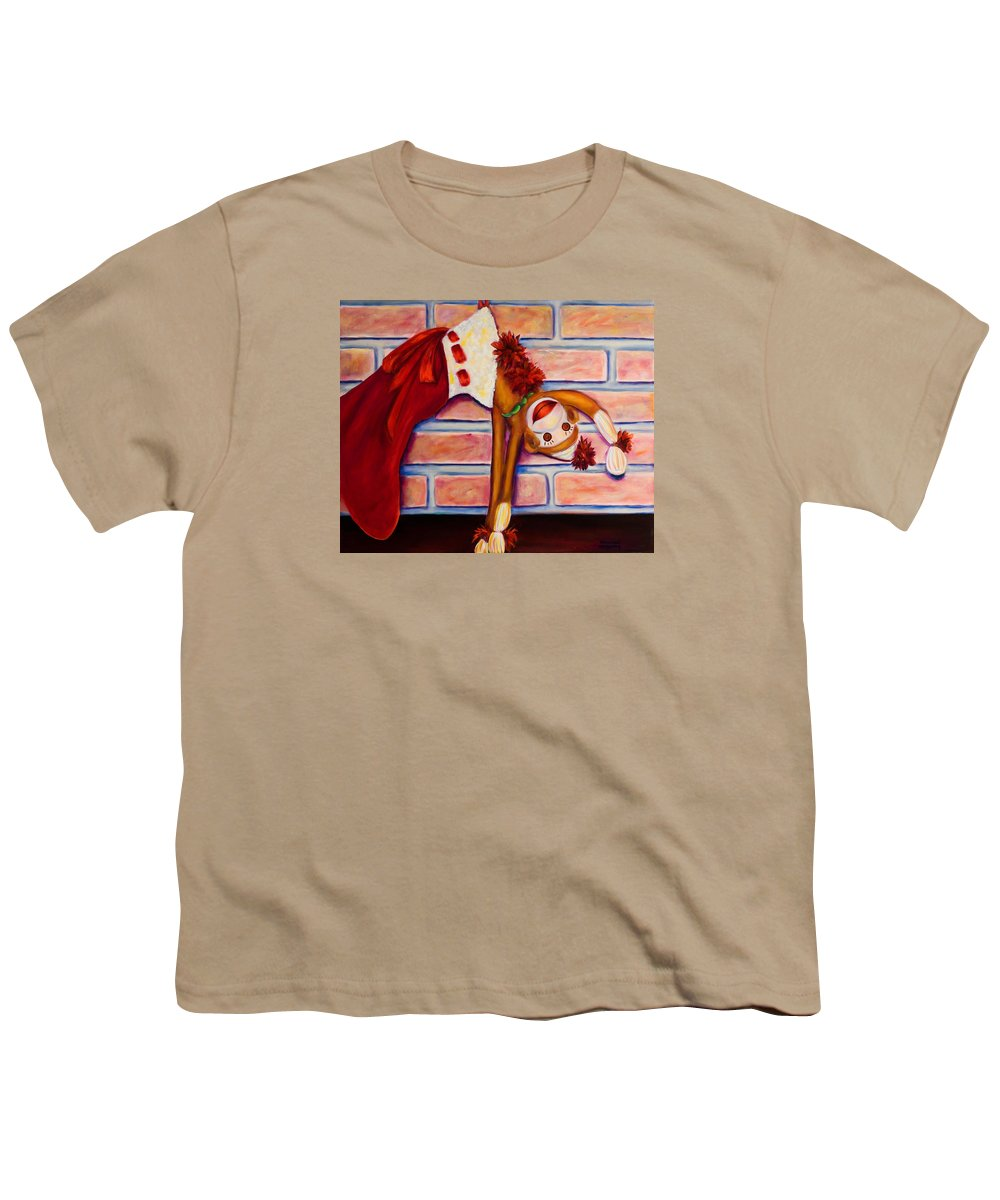 Sock Monkey Youth T-Shirt featuring the painting Christmas With Care by Shannon Grissom