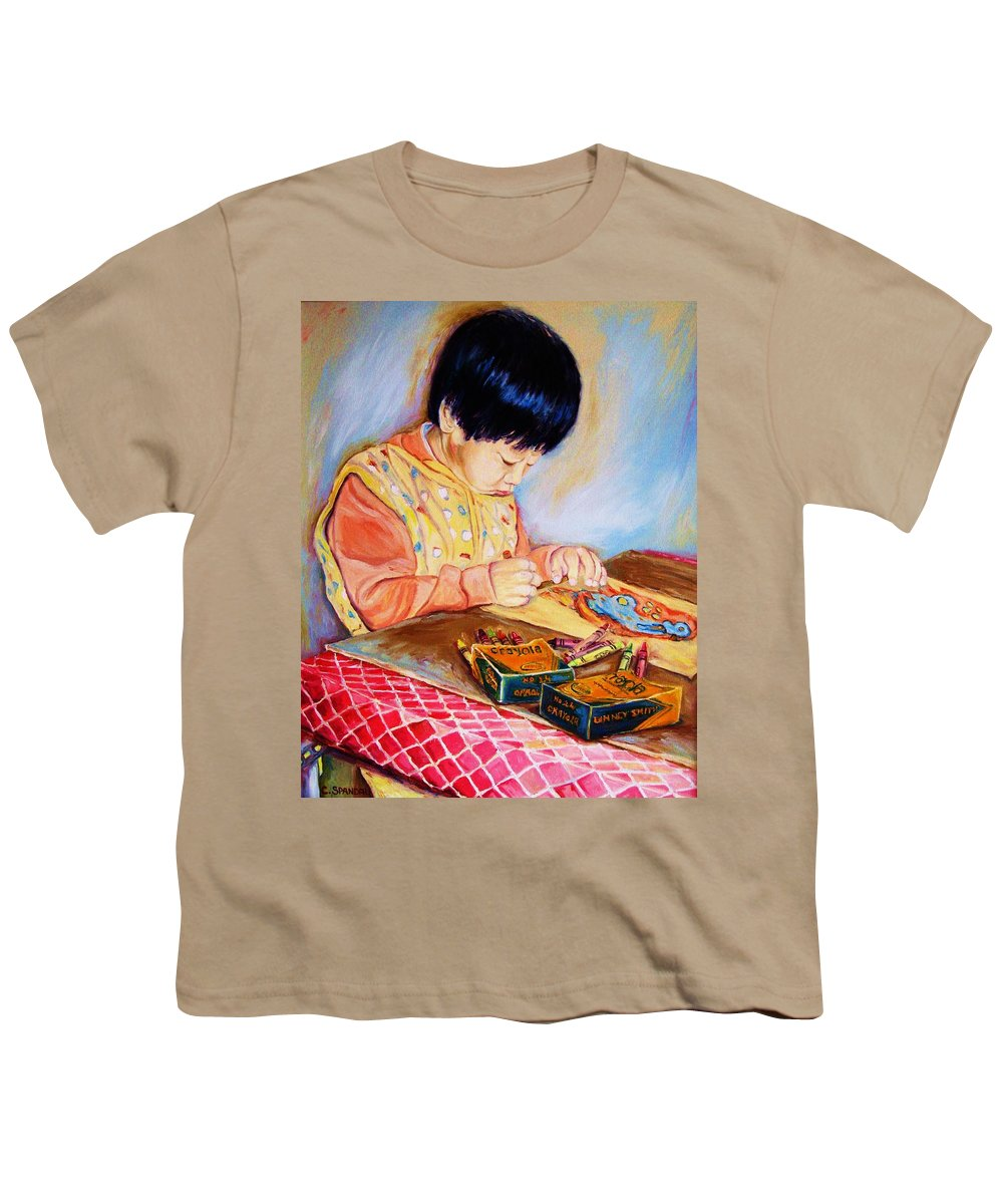 Beautiful Child Youth T-Shirt featuring the painting Commission Portraits Your Child by Carole Spandau