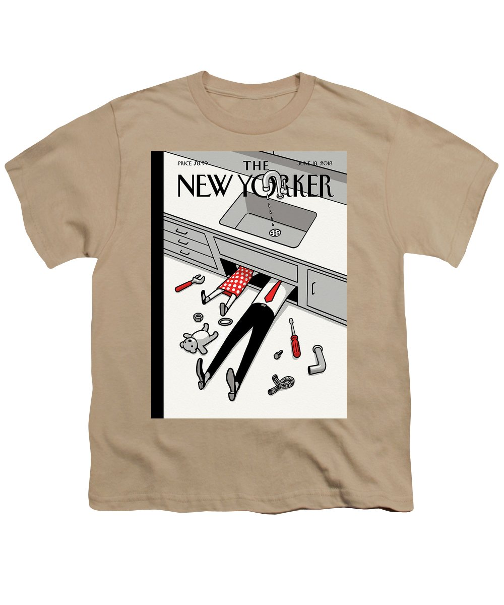 145477 Youth T-Shirt featuring the painting Fathers Day Off by Christoph Niemann