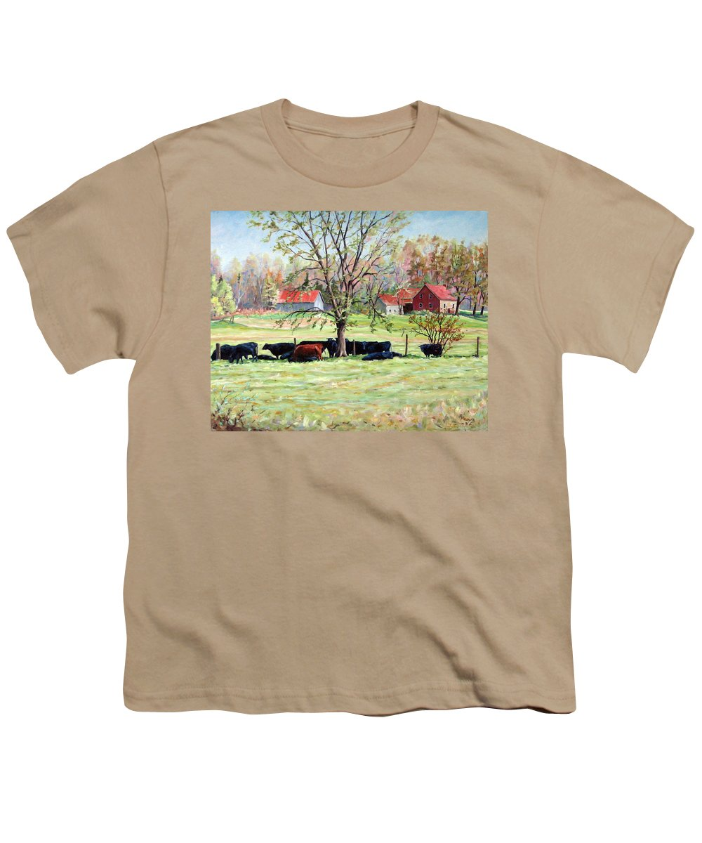 Cows Youth T-Shirt featuring the painting Cows Grazing In One Field by Richard T Pranke
