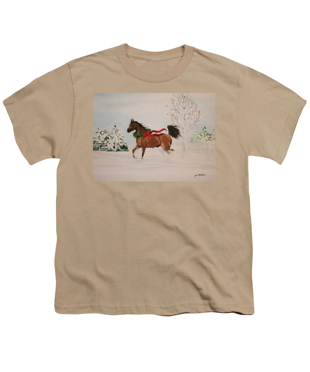 Horse Youth T-Shirt featuring the painting Dashing Thru The Snow by Jean Blackmer