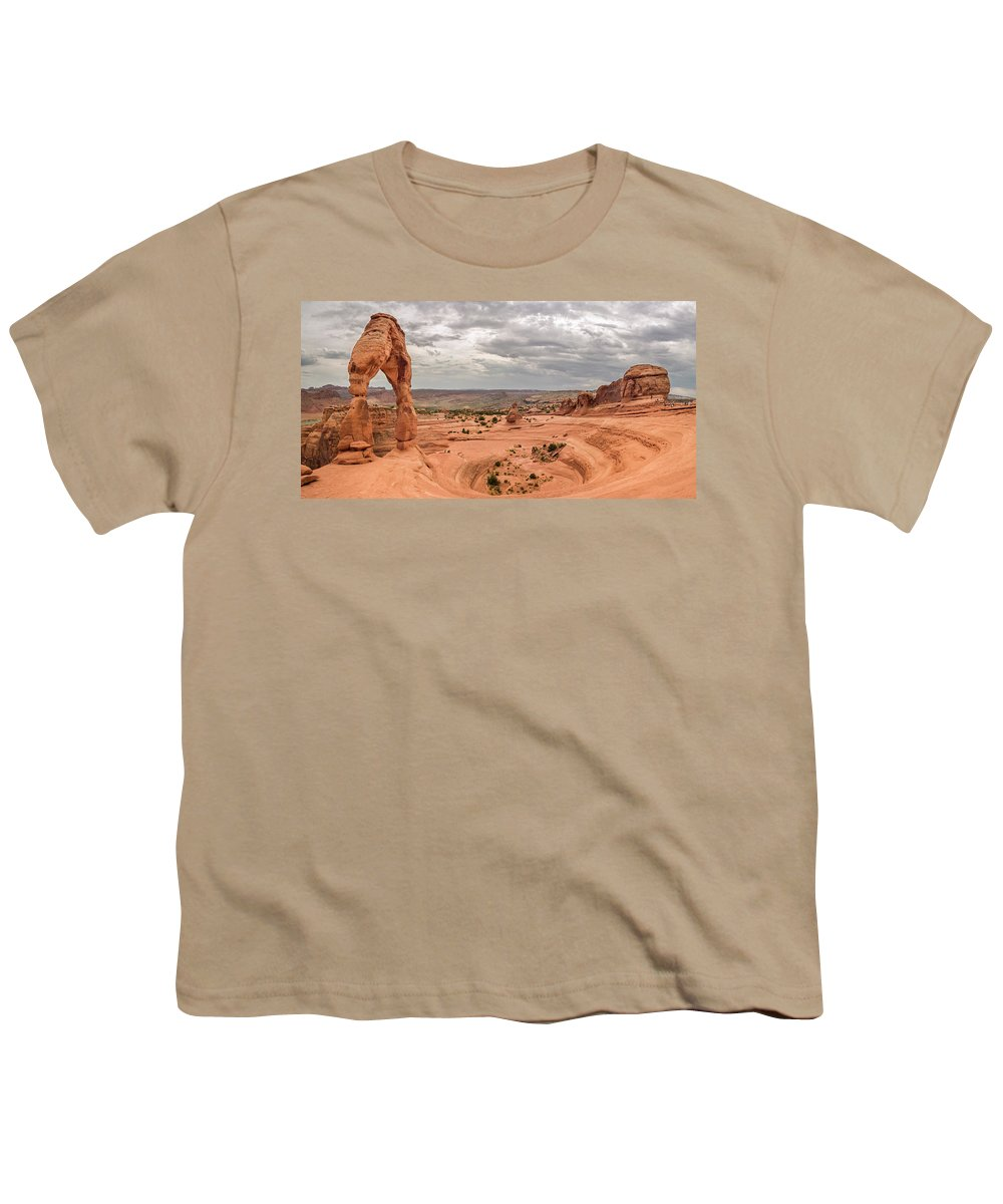 3scape Youth T-Shirt featuring the photograph Delicate Arch Panoramic by Adam Romanowicz