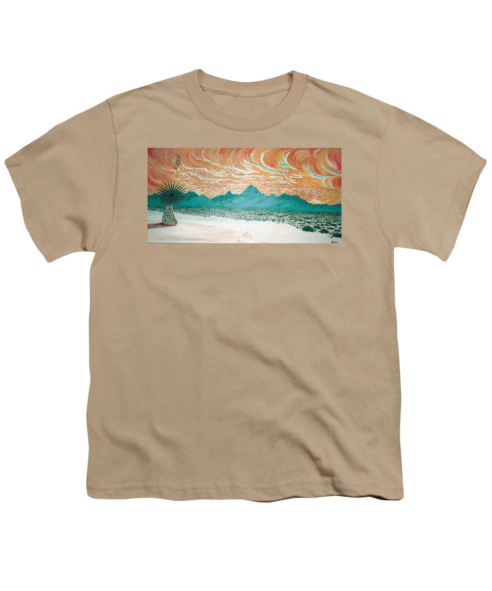 Desertscape Youth T-Shirt featuring the painting Desert Splendor by Marco Morales