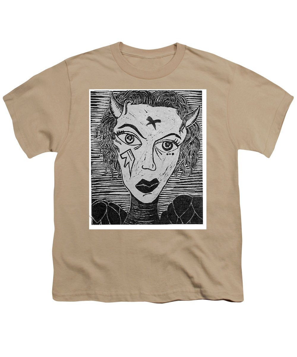Prints Youth T-Shirt featuring the print Devil Print Two Out Of Five by Thomas Valentine