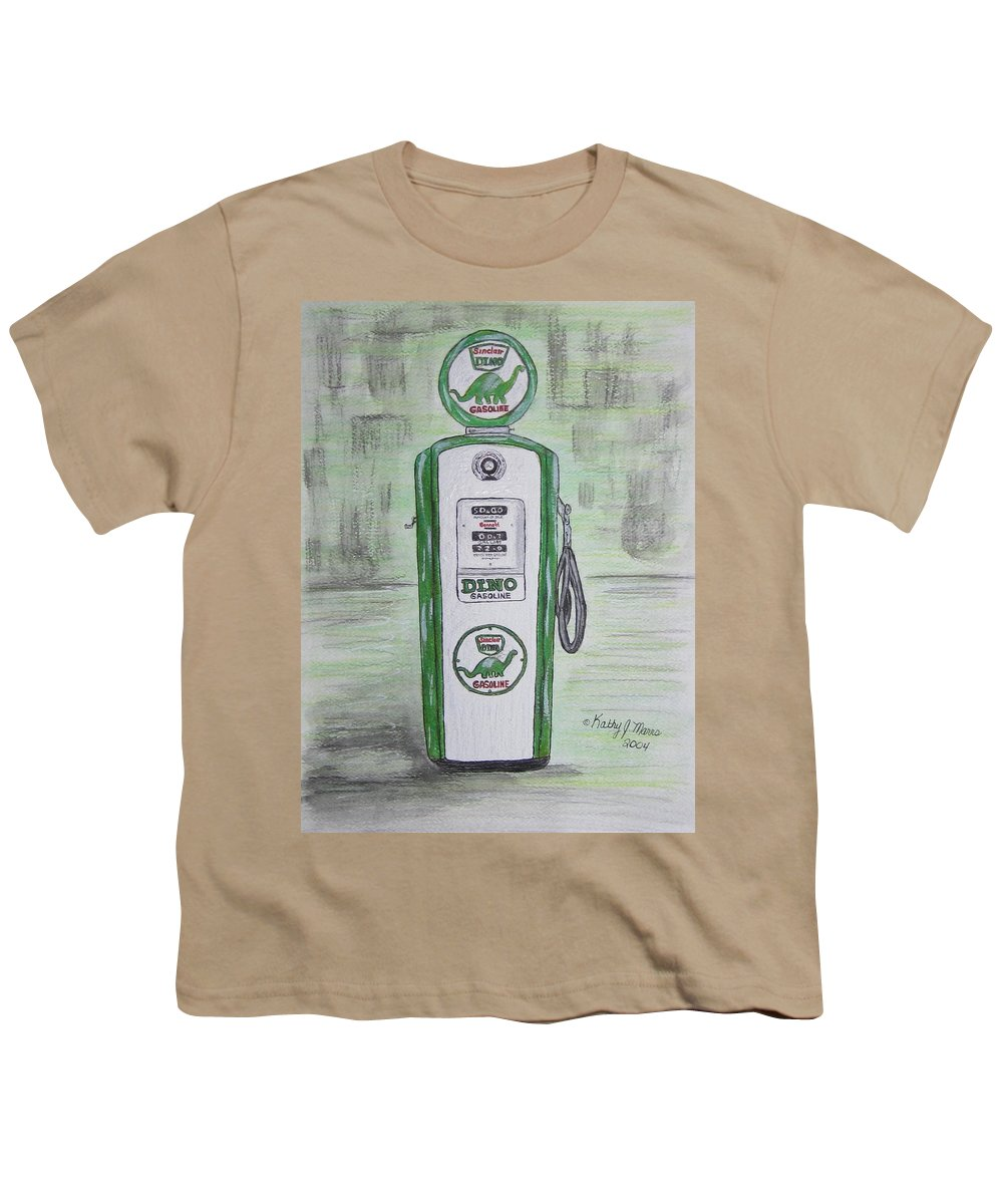 Dino Youth T-Shirt featuring the painting Dino Sinclair Gas Pump by Kathy Marrs Chandler